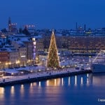 View from Södermalm seeing christmas tree at Skeppsbron, Old Town