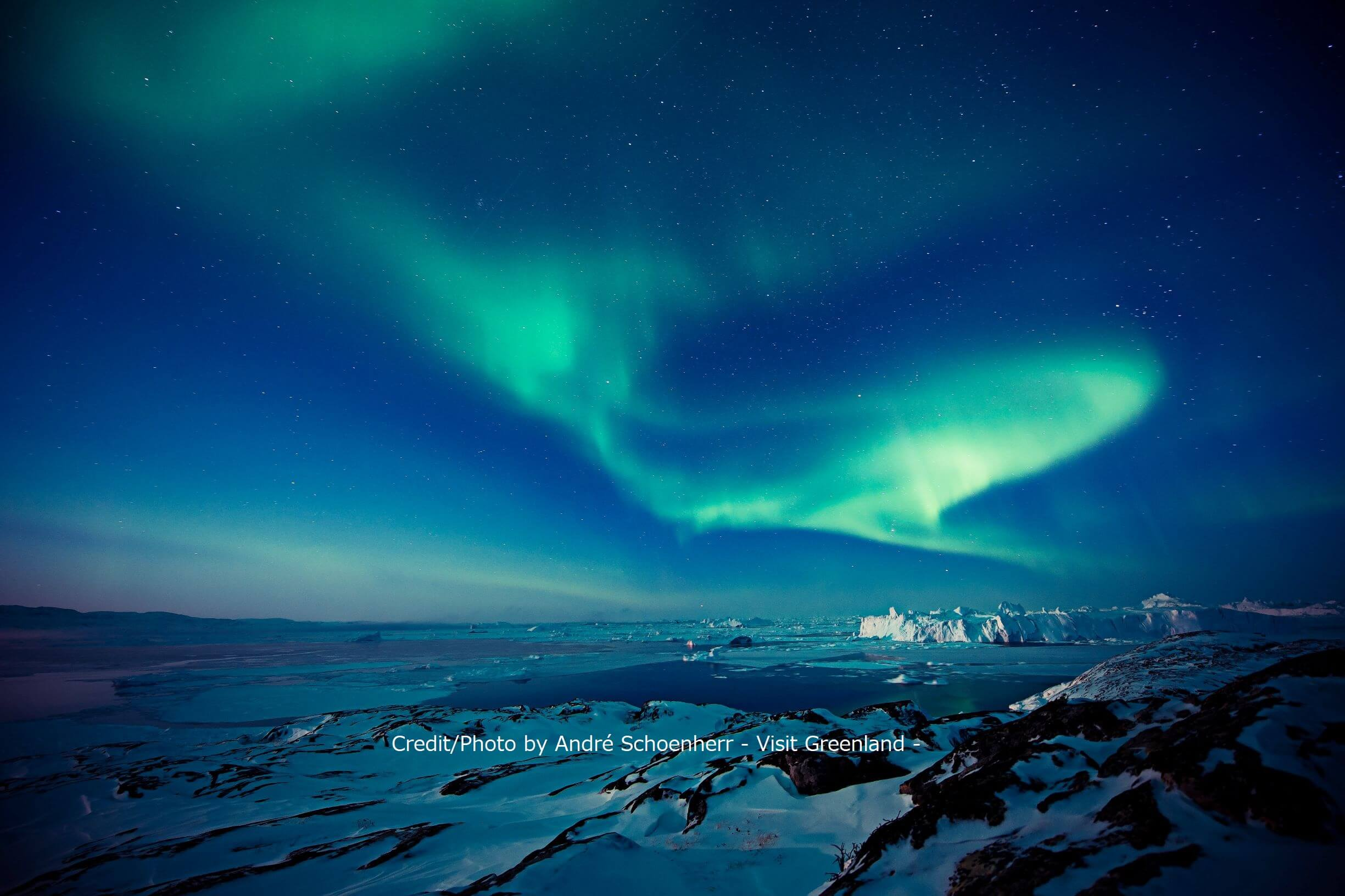 Northern lights over the Ilulissat Icefjord area in Greenland